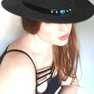 {Vintage} Black & Turquoise Cowgirl Hat